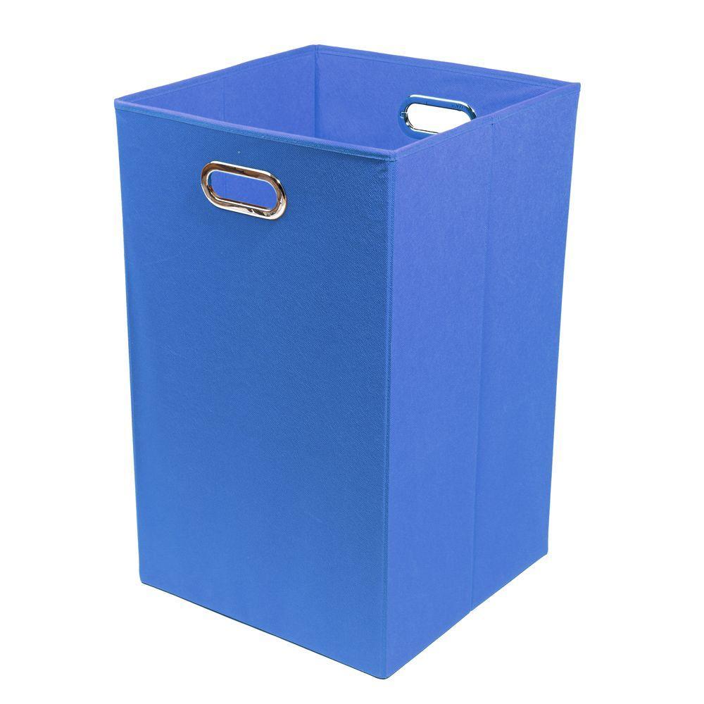 Bold Solid Blue Folding Laundry Basket