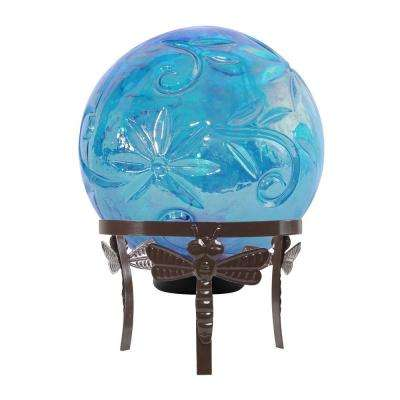 13 in. Tall Blue Glass Globe Decor with LED Light