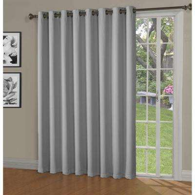Blackout Maya Woven Blackout 108 in. W x 84 in. L Grommet Extra Wide Patio Door Curtain Panel in Light Gray