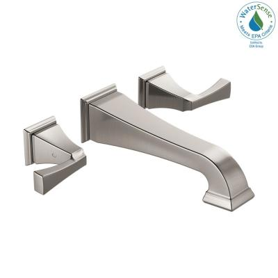 Dryden 2-Handle Wall Mount Bathroom Faucet Trim Kit in Stainless [Valve not Included]