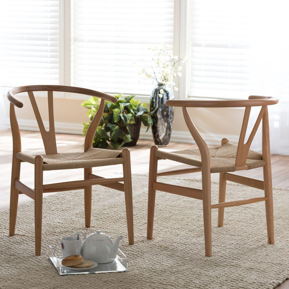 Baxton Studio Wishbone Mid Century Light Brown Finish Wood Chair Set 2 Piece