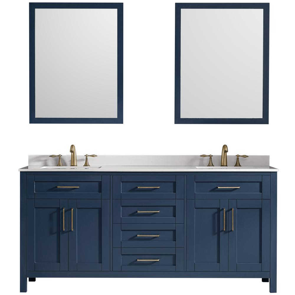 OVE Decors Tahoe 72 in. W Bath Vanity in Midnight Blue with Cultured Stone Vanity Top in White with White Basins and Mirrors