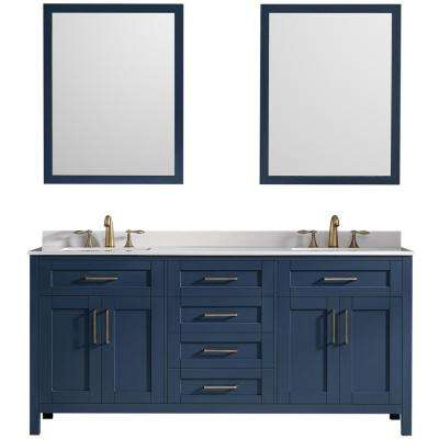 Tahoe 72 in. W x 21 in. D Bath Vanity in Midnight Blue with Marble Vanity Top in White with White Basins and Mirrors