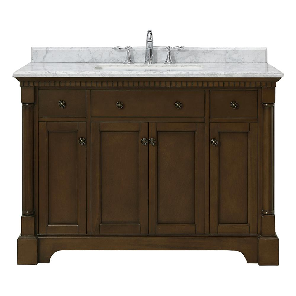 OVE Decors Claudia 48 in. W x 22 in. D Vanity in Antique Coffee with Marble Vanity Top in Carrara with White Basin