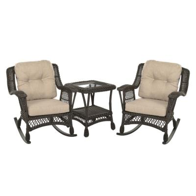 Cappuccino Collection 3-Piece Wicker Patio Rocking Chair Conversation Set with Beige/Tan Cushions