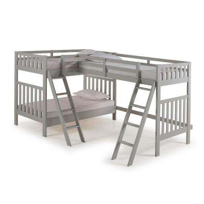 Aurora Dove Gray Twin Over Twin Bunk Bed with Third Bunk Extension