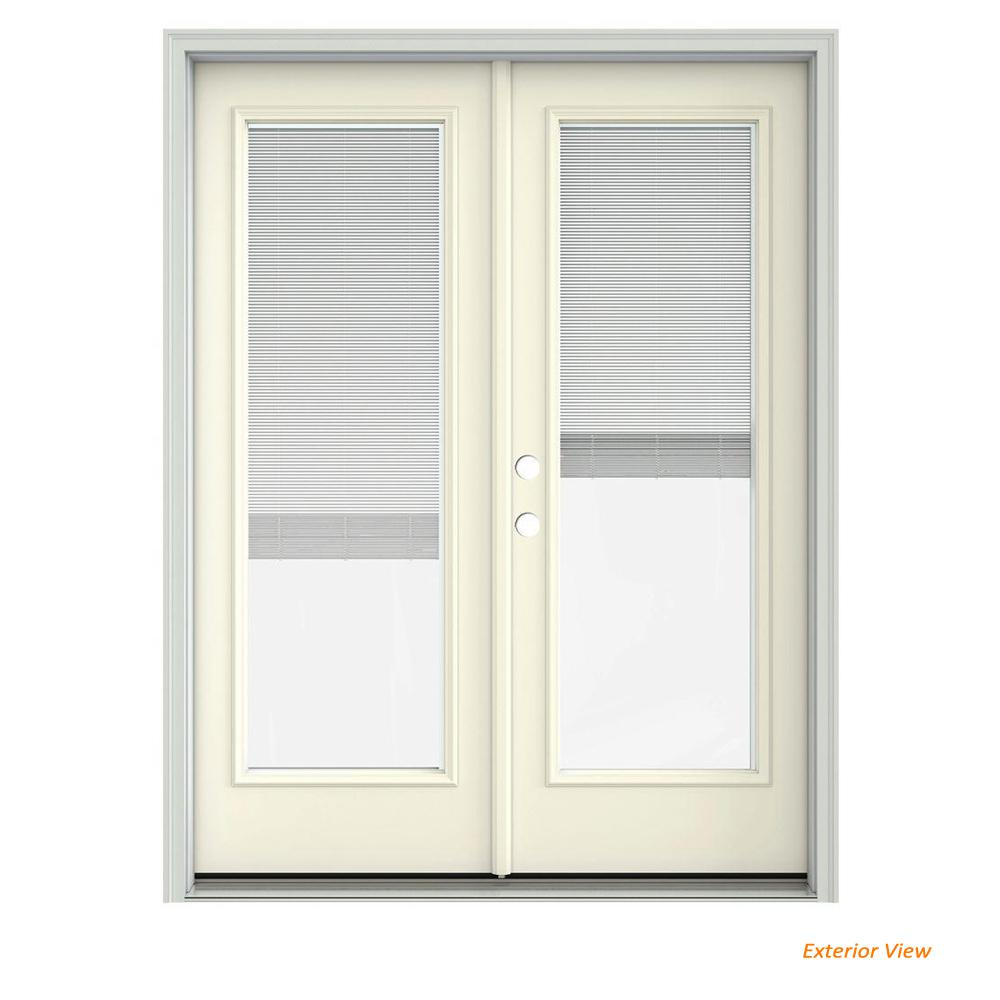 Jeld Wen 60 In X 80 In Vanilla Painted Steel Right Hand Inswing
