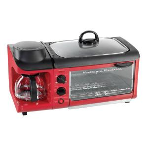 Nostalgia Retro Series 4-Slice 3-in-1 Breakfast Station Toaster Oven in Red by Nostalgia
