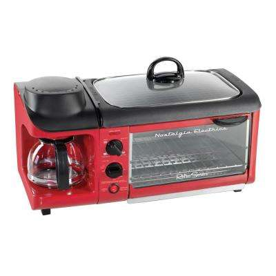 Retro Series 4-Slice 3-in-1 Breakfast Station Toaster Oven in Red