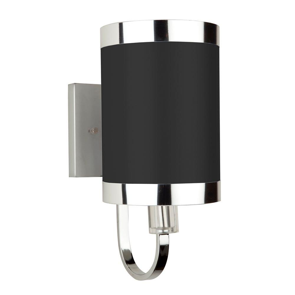 ARTCRAFT Madison 1-Light Chrome Sconce Beautiful tuxedo black shade trimmed with chrome banding on a smooth chrome frame (Single lite wall sconce)