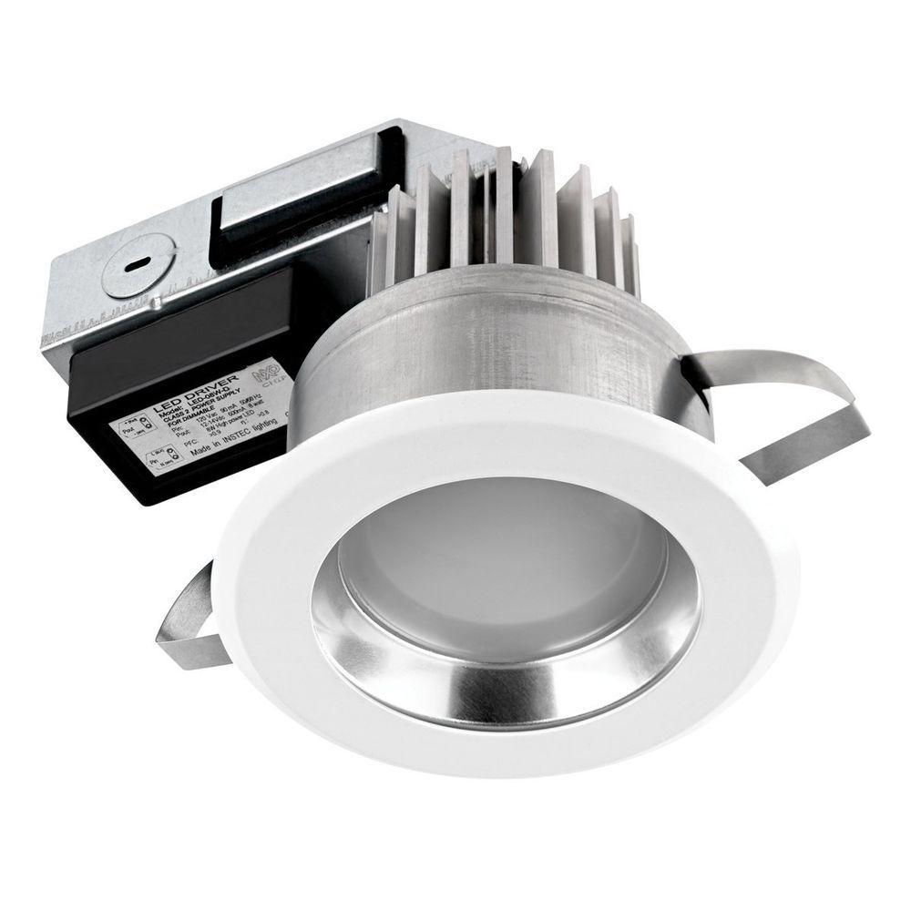 Globe Electric 4 in. IC Rated White Integrated Dimmable Sleek Recessed LED Lighting Kit