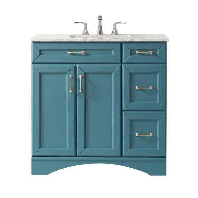 Naples 36 in. Bath Vanity in Green with Carrara Marble Vanity Top in White with White Basin