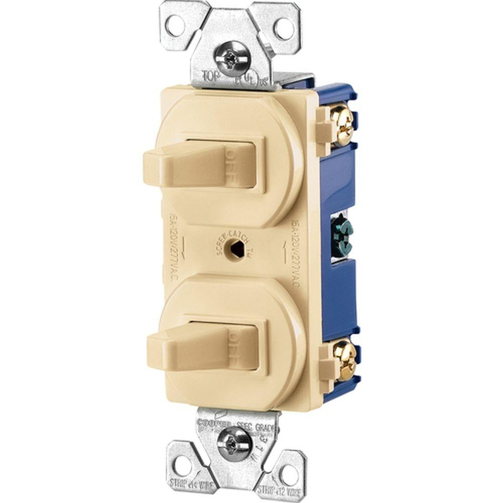 Commercial Grade 15 Amp Combination Single Pole Toggle Switch and 3-Way