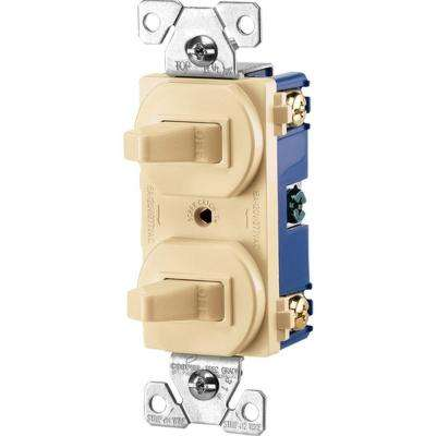 Commercial Grade 15 Amp Combination Single Pole Toggle Switch and 3-Way Switch, Ivory