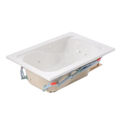 Cadet 60 in. x 42 in. Reversible Drain EverClean Whirlpool Tub in White