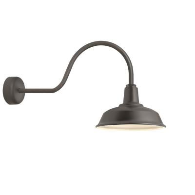Heavy-Duty 14 in. Shade 30 in. Arm 1-Light Textured Bronze Gloss White Lens Outdoor Wall Mount Sconce