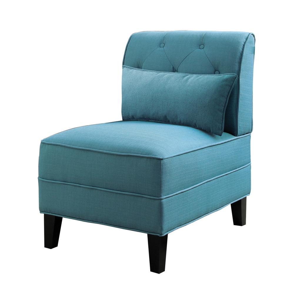 Wooden Arm Chairs In Teal ~ Acme furniture susanna teal accent chair with pillow