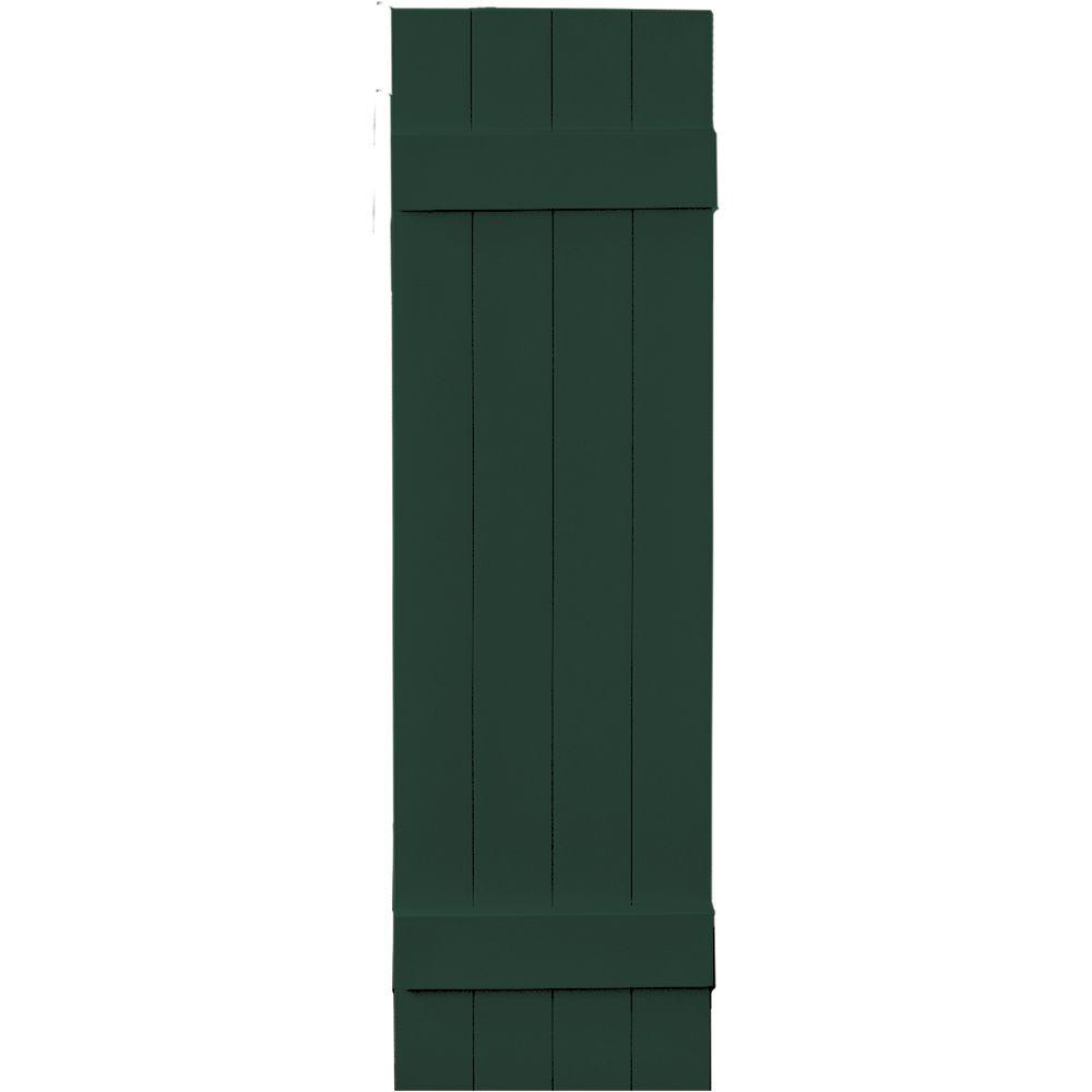 Builders Edge 14 in. x 51 in. Board-N-Batten Shutters Pair, 4 Boards Joined #122 Midnight Green