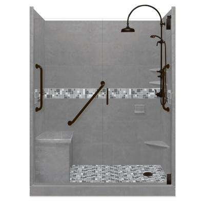 Newport Freedom Luxe Hinged 34 in. x 60 in. Right Drain Alcove Shower in Wet Cement and Black Pipe Faucet/Hardware