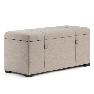 Dorchester 41 in. Transitional Storage Ottoman in Natural Linen Look Fabric