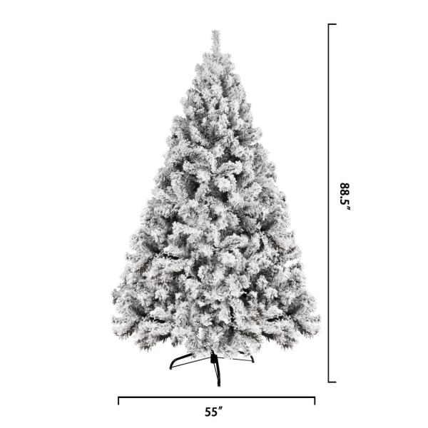 Veikous 7 5 Ft Unlit Christmas Artificial Pine Tree Snow Flocked Christmas Tree Holiday Decor Ct 003 2 25m The Home Depot
