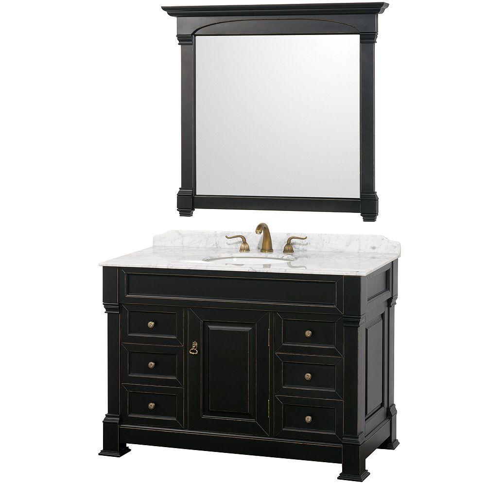 Wyndham Collection Andover 48 in. Vanity in Antique Black with Marble Vanity Top in Carrera White and Mirror