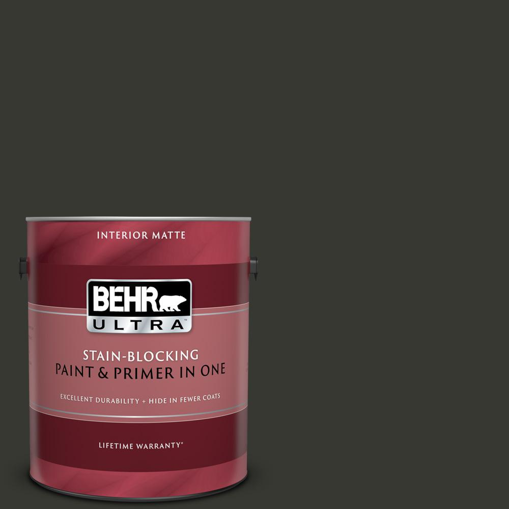 BEHR ULTRA 1 gal. #T13-3 Black Lacquer Matte Interior Paint and Primer in One