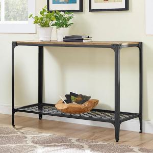 Walker Edison Furniture Company Angle Iron Barnwood Console Table C44AIETBW    The Home Depot