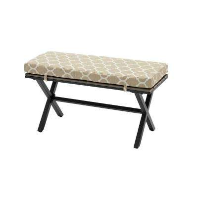 Laguna Point Brown Steel Wood Top Outdoor Patio Bench with CushionGuard Toffee Trellis Tan Cushions