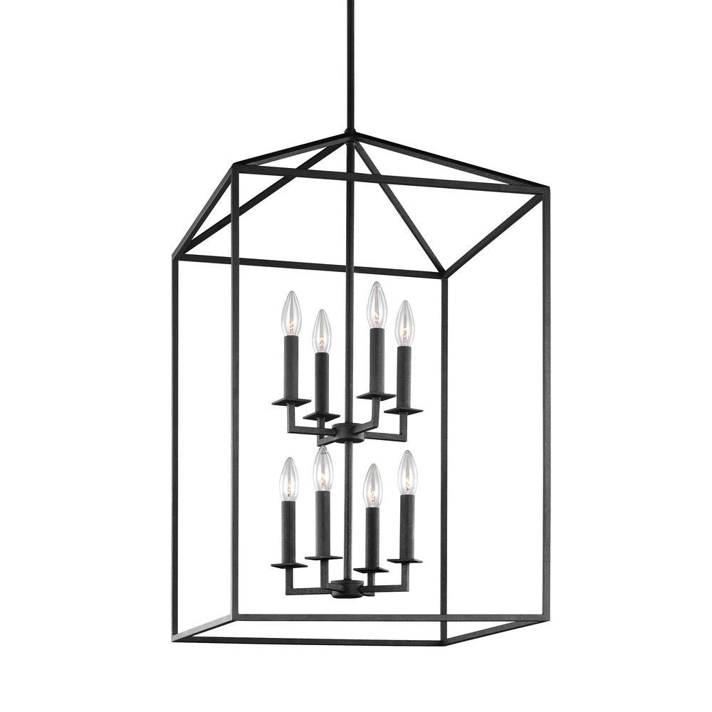 Perryton 8-Light Textured Blacksmith Hall-Foyer Lantern Pendant with Dimmable Candelabra LED Bulb