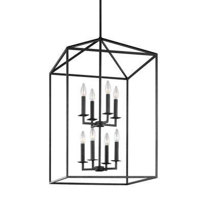 Perryton 8-Light Textured Blacksmith Hall-Foyer Lantern Pendant with Dimmable Candelabra LED Bulb