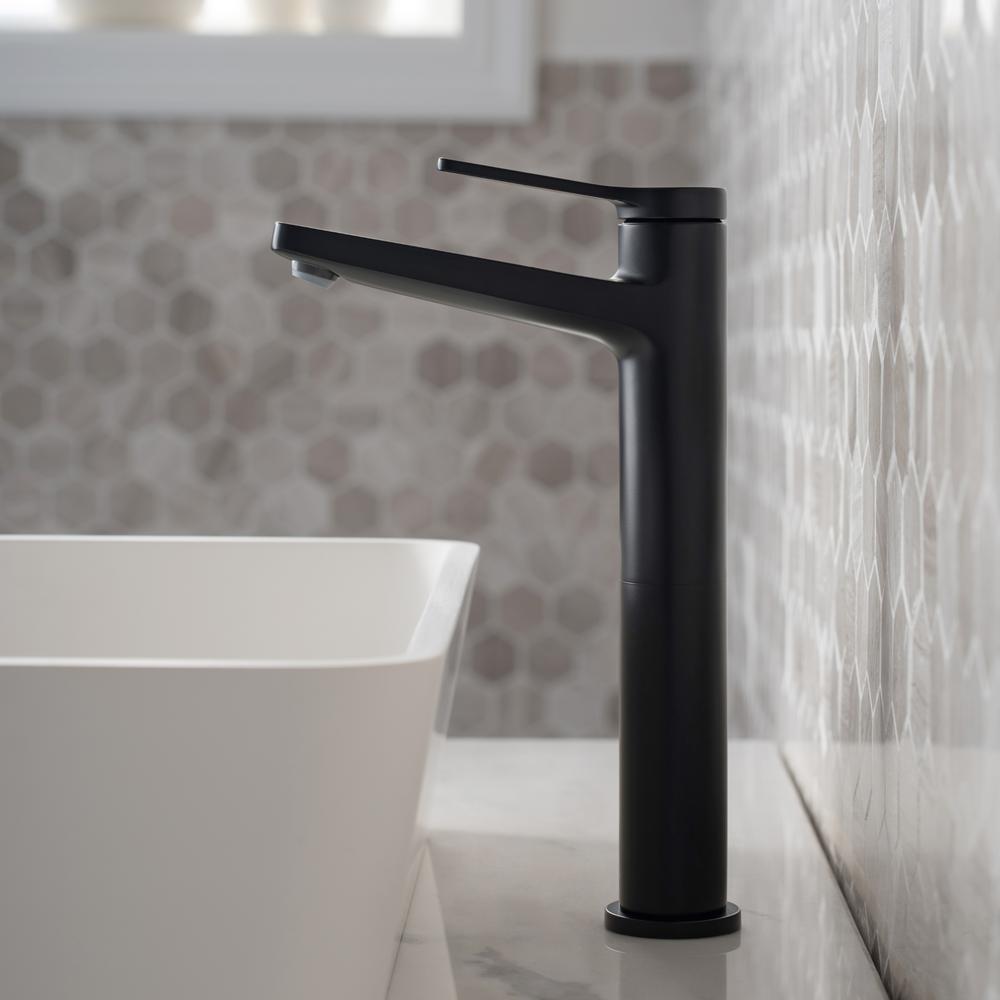 Indy Single Hole Single-Handle Vessel Bathroom Faucet in Matte Black
