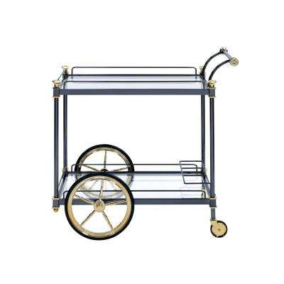 Cyrus Black and Clear Glass Serving Cart