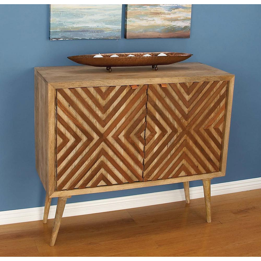 Chevron-Patterned Wooden Brown Cabinet