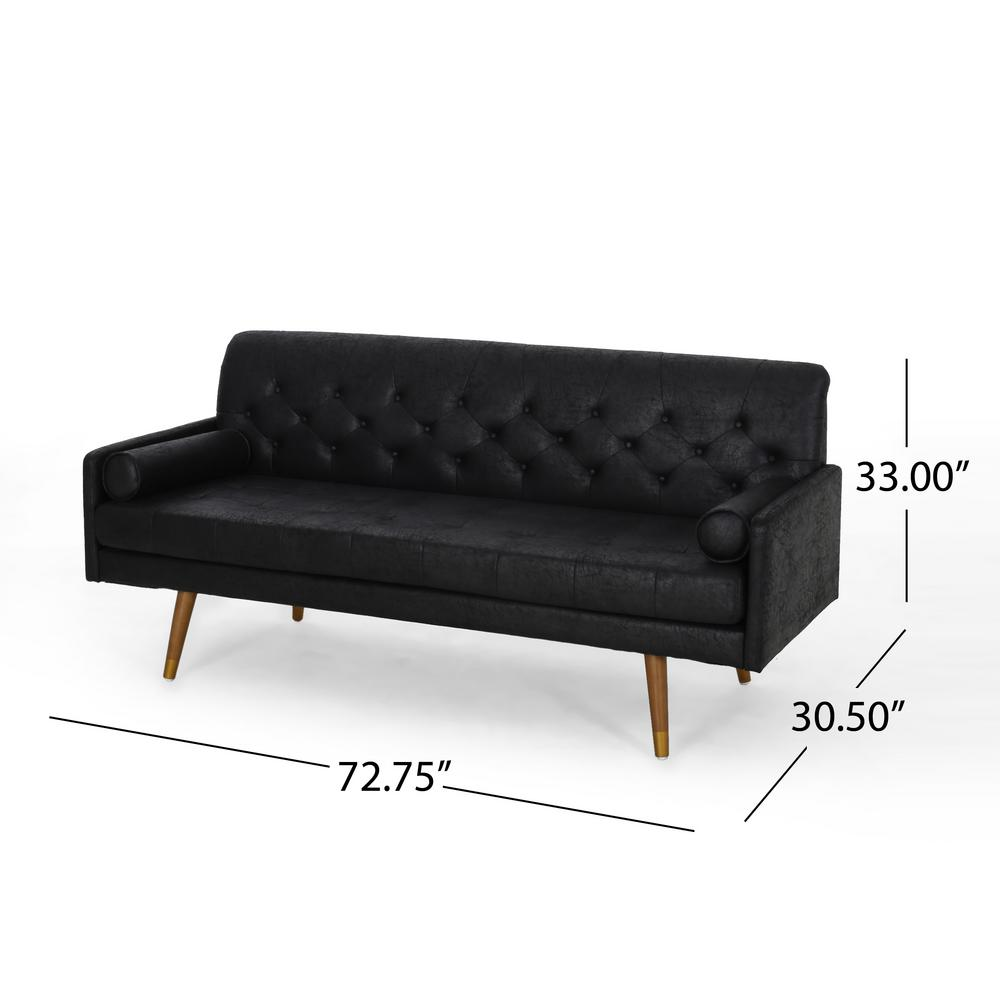 Noble House Grapewood Mid-Century Modern Black Microfiber Sofa with ...