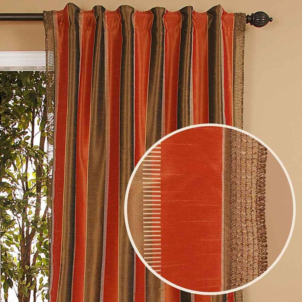 Home Decorators Collection Sheer Roshni Terracotta Back Tab Curtain