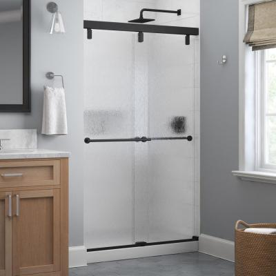 Lyndall 48 in. x 71-1/2 in. Frameless Mod Soft-Close Sliding Shower Door in Matte Black with 1/4 in. (6 mm) Rain Glass