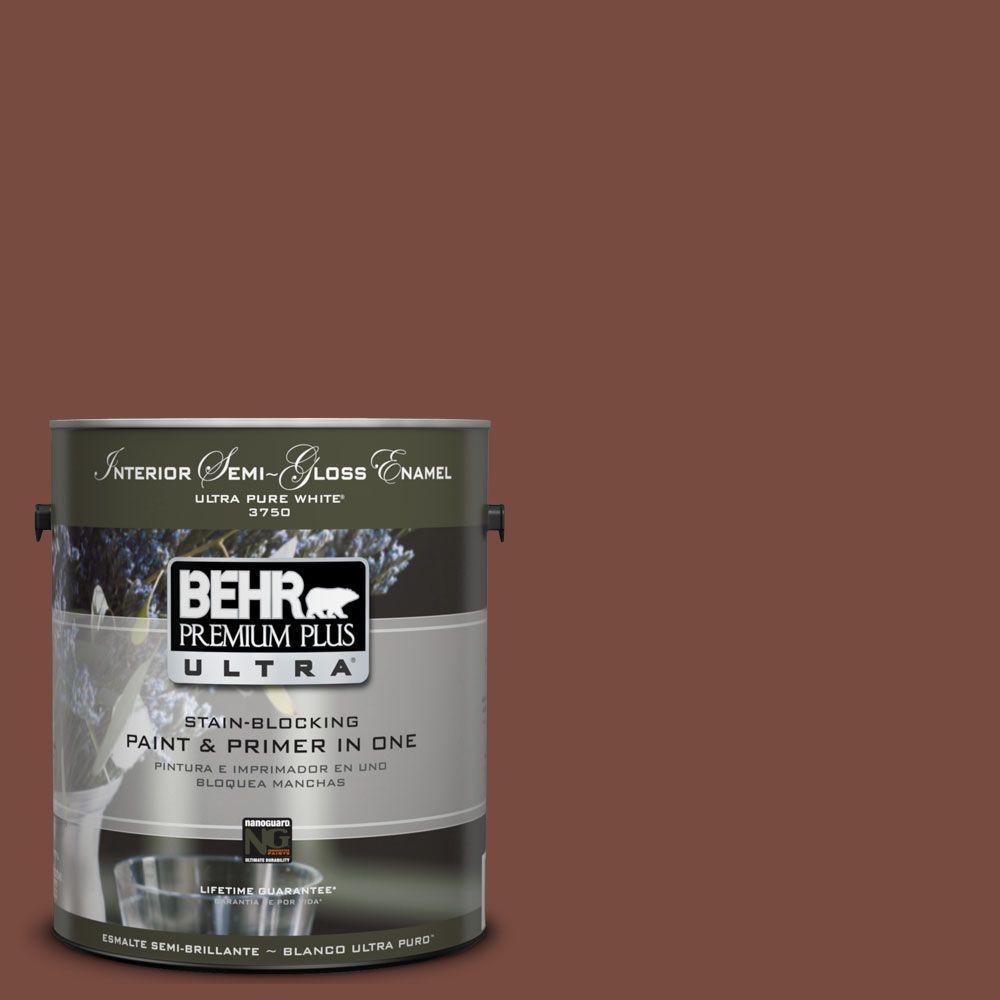 BEHR Premium Plus Ultra 1 gal. #UL120-1 Royal Liqueur Semi-Gloss Enamel Interior Paint and Primer in One