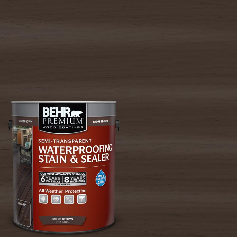 BEHR Premium 1-gal. #ST-105 Padre Brown Semi-Transparent Waterproofing Stain and Sealer