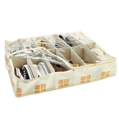 Under-the-Bed Polypropylene Shoe Box in Cameo Key Cream