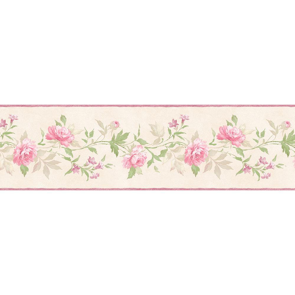 Casual Rose Pink, Cream, Green Wallpaper Border