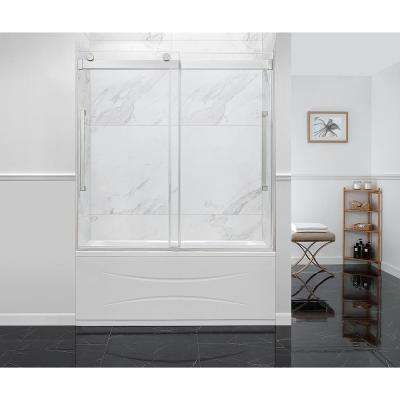 Montebello 60 in. x 59 in. Frameless Sliding Bathtub Door in Satin Nickel with Handle