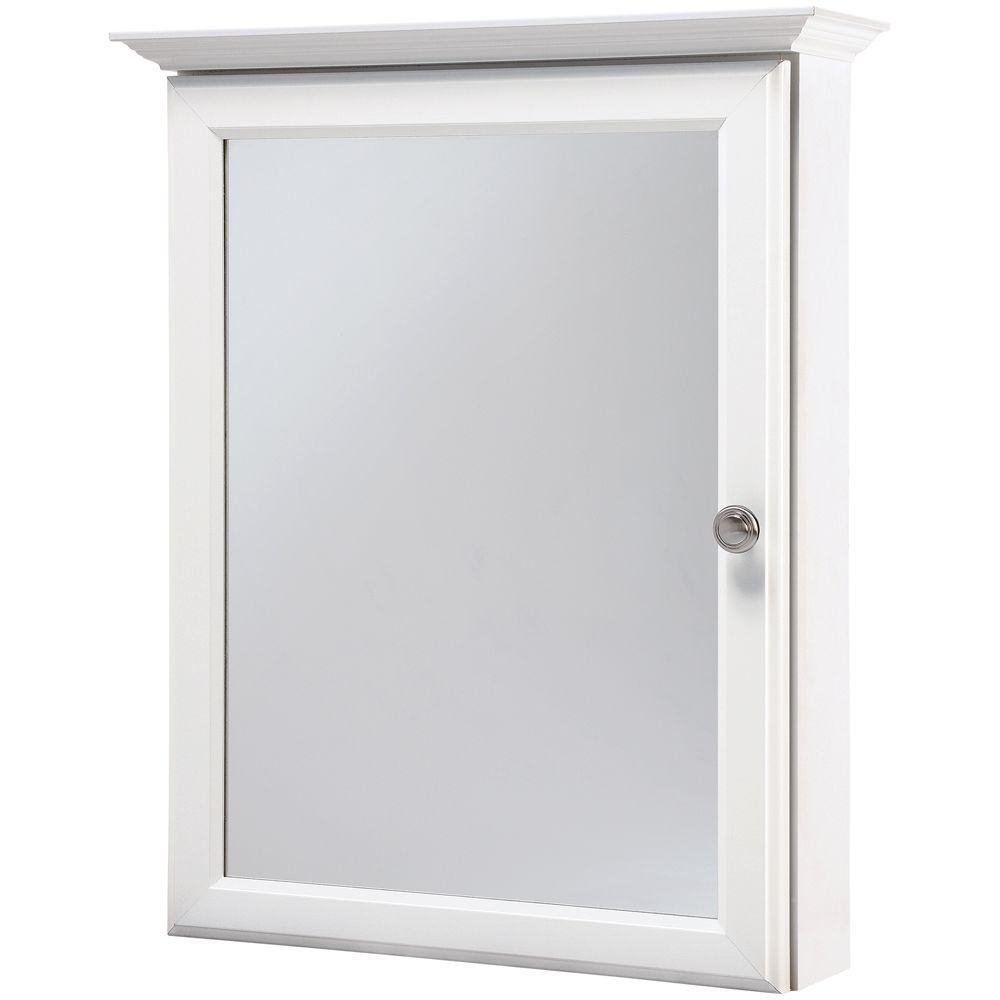 Glacier Bay 20 1 4 In W X 25 In H Framed Surface Mount Bathroom Medicine Cabinet In White