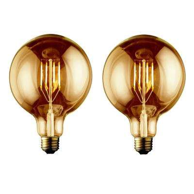 60W Equivalent Warm White G40 Amber Lens Vintage Globe Dimmable LED Light Bulb (2-Pack)