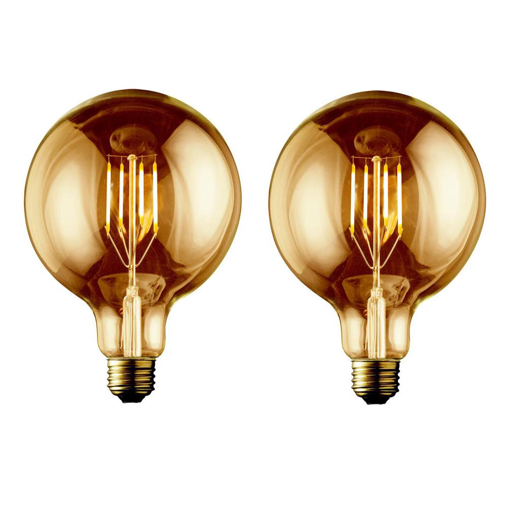 Archipelago 60w Equivalent Warm White G40 Amber Lens Vintage Globe Dimmable Led Light Bulb 2 Pack