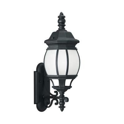Wynfield 1-Light Black Outdoor 23.5 in. Wall Lantern Sconce with LED Bulb