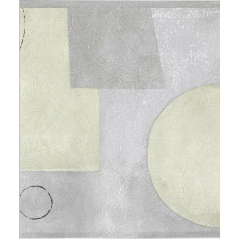 Falkirk Brin Gray, Beige Shapes, Circles, Rectangles Abstract Prepasted Wallpaper Border