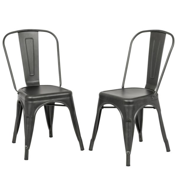 Superbe Carolina Forge Adeline Rustic Pewter Metal Stacking Dining Chair (Set Of 2)