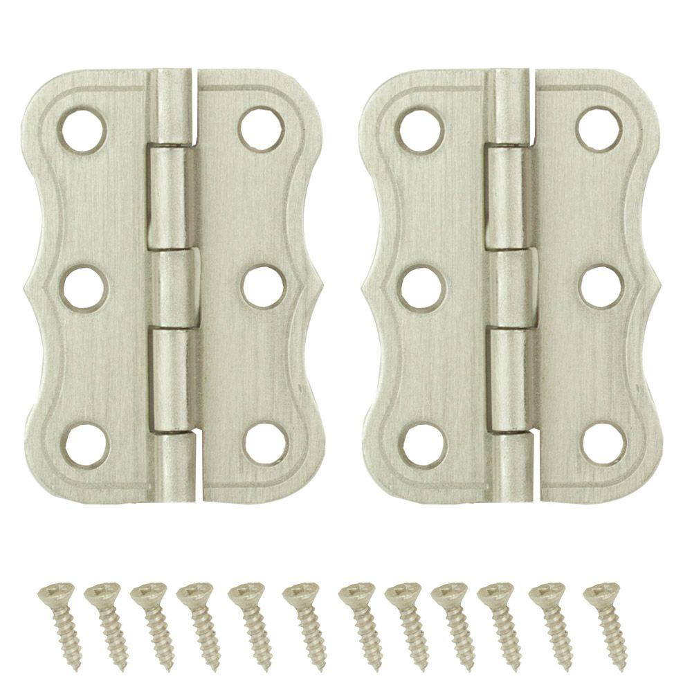 2 in. x 1-3/8 in. Satin Nickel Decorative Broad Hinges