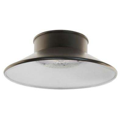 12 in. 60-Watt Bronze Outdoor Integrated LED Screw-In/Hardwire Ceiling Canopy Wall Pack Light